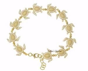 【送料無料】ブレスレット アクセサリ― イエローゴールドメッキソリッドシルバーハワイリンクブレスレットyellow gold plated solid 925 silver hawaiian sea turtle link bracelet cz 75inch