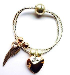 【送料無料】ブレスレット アクセサリ― ビビシルバーボックスチェーンブレスレットウィングアンプアンプローズゴールドハートチャームbibi bijoux silver box chain bracelet with wing amp;amp; rose gold heart charm