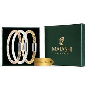 【送料無料】ブレスレット アクセサリ― kゴールドメッキメッシュブレスレットセットset of 3 7 amp; 75 18k gold plated mesh bracelet w magnetic clasps by matashi
