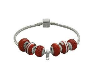 【送料無料】ブレスレット アクセサリ― ¥ブランドレディースソーススターリングシルバーレッドブレスレットlk 10 brand ladies source sterling silver red glitter charm bracelet