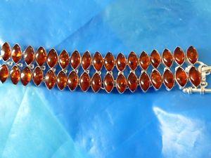 【送料無料】ブレスレット アクセサリ― レディースシルバーカボションカットオレンジブレスレットladies silver plated marquise cabochons cut amber bracelet