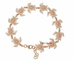 【送料無料】ブレスレット アクセサリ― ローズゴールドメッキソリッドシルバーハワイリンクブレスレットrose gold plated solid 925 silver hawaiian sea turtle link bracelet cz 75inch