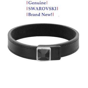 【送料無料】ブレスレット アクセサリ― スワロフスキーセンターブレスレットブラックレザーボックス