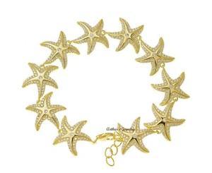 【送料無料】ブレスレット アクセサリ― イエローゴールドメッキスターリングシルバーハワイアンシースターフィッシュブレスレットインチyellow gold plated 925 sterling silver hawaiian sea starfish bracelet cz 7 in
