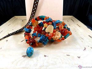 【送料無料】ブレスレット アクセサリ― ターコイズトルコカネラップブレスレットturquoise and carnelian mixedstone wrap bracelet