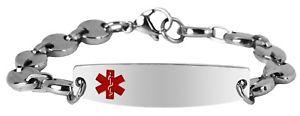 【送料無料】ブレスレット アクセサリ― 85インチステンレス7idブレスレット 7 thru 85 inch stainless steel engravable medical alert id bracelet