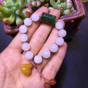 【送料無料】ブレスレット アクセサリ― ブレスレット10mmgenuine natural white jade gemstone round beads bracelet 10mm