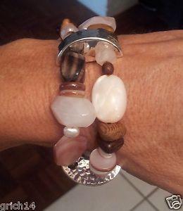 【送料無料】ブレスレット アクセサリ― silpada rose quartzwood beadfreshwater pearl stretch braceletb1418silpada rose quartz, wood bead, freshwater pearl stretch