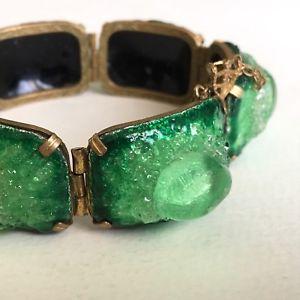 【おまけ付】 【送料無料 signed】ブレスレット アクセサリ― 194050 ヴィンテージガラスエナメルブレスレットリモージュフランスvintage glass enamel bracelet signed years r grelet years 194050 limoges france green, BLABE:0d6c9ce7 --- rishitms.com