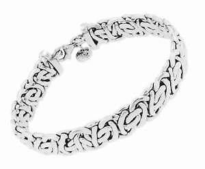 【送料無料】ブレスレット アクセサリ― ロイヤルチェーンブレスレットビザンチンイタリアメンズレディースroyal chain bracelet byzantine, silver plated jewel gift mens ladies italy