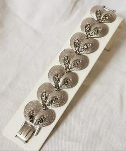 卸売 【送料無料】ブレスレット アクセサリ― ビンテージブレスレットマットクリスタルスモークvintage bracelet crystal signed art silver metal bracelet silver textured matte crystal smokedt12, ナガサワ文具センター:71324536 --- rishitms.com