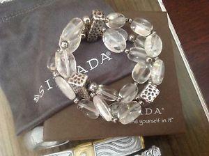 【送料無料】ブレスレット アクセサリ― クリスタルクオーツスターリングシルバーストレッチブレスレットsilpada crystal quartz amp; oxidized sterling silver stretch bracelet b1600 retire