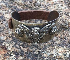 【送料無料】ブレスレット アクセサリ― バルボサジュエリーアンティークシルバースナップカフブレスレットbarbosa jewelry angel wing antique brass, silver and leather snap cuff bracelet