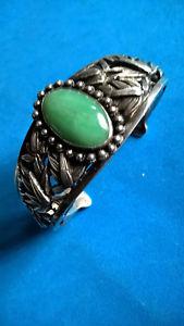 【送料無料】ブレスレット アクセサリ― アンティークシルバーブレスレットantique silver bracelet chinese bamboo amp; green jade