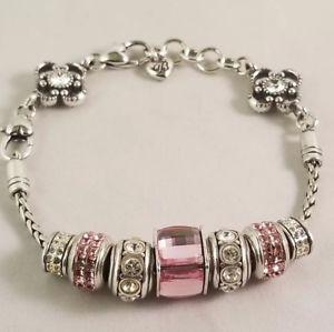 【送料無料】ブレスレット アクセサリ― ブライトンシルバーピンクブレスレットスワロフスキークリスタルbrighton silver and pink charm bracelet amp; charms lot wswarovski crystals