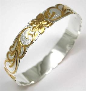 【送料無料】ブレスレット アクセサリ― シルバーハワイアンブレスレットメタルプルメリアフラワースクロールエッジsilver 925 hawaiian bracelet rigid plumeria flower scroll shape edge 15mm 2t