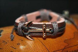 【送料無料】ブレスレット アクセサリ― カフアンカーラップブレスレットmen genuine leather nautical wrap adjustable brown cuff anchor bracelet