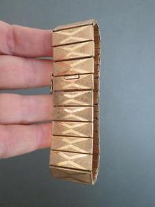 【送料無料】ブレスレット アクセサリ― カフブレスレットビンテージvintage rolled gold cuff bracelet signed