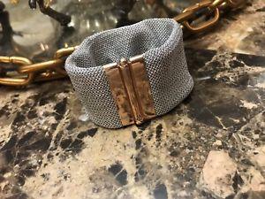【送料無料】ブレスレット アクセサリ― シルバーメッシュブレスレットローズゴールドクラスプアメジストアクセントadami and martucci silver mesh bracelet wrose gold clasp amp; amethyst accent