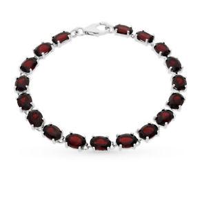 【送料無料】ブレスレット アクセサリ― ソリッドシルバーガーネットブレスレットsolid silver 925 natural garnet bracelet 19 cm nwt