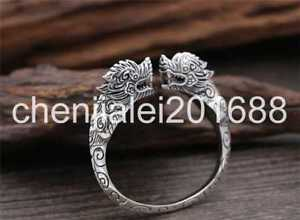 【送料無料】ブレスレット アクセサリ― スターリングシルバーファッションタイダブルドラゴンpure s925 sterling silver fashion thailand god beast double dragons head women