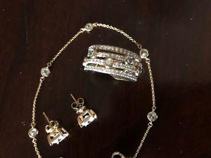 【送料無料】ブレスレット アクセサリ― ゴールドスターリングブレスレットイヤリングlandau gold plate over sterling ~ ring, bracelet, earrings