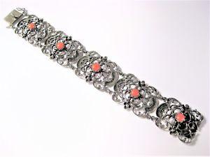 【送料無料】ブレスレット アクセサリ― アンティークブレスレットアルジェントantique bracelet en argent 800 avec corail, 31,9 g