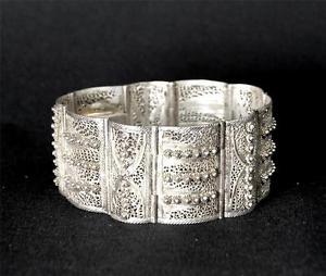 【送料無料】ブレスレット アクセサリ― ビンテージシルバーワイドブレスレットvintage silver wide filigree bracelet ~ hallmarked