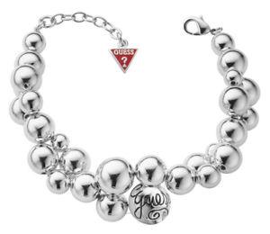 【送料無料】ブレスレット アクセサリ― チェーンブレスレットシルバーguess chain bracelet hand chain ubb70208 silver colored with small beads