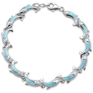 【送料無料】ブレスレット アクセサリ― イルカスターリングシルバーブレスレットロング cute dolphins natural larimar 925 sterling silver bracelet 7 long