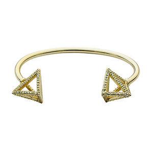 【送料無料】ブレスレット アクセサリ― メッキピラミッドカフbrass 14k gold plated pyramid pav cuff