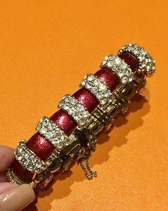 【送料無料】ブレスレット アクセサリ― エナメルクリスタルブレスレットciner 1950s red enamel crystal bracelet