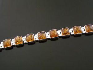 【送料無料】ブレスレット アクセサリ― シルバーブレスレットオレンジオレンジスターリングシルバーブレスレットgenuine amber squares in silver bracelet amber set in sterling silver bracelet