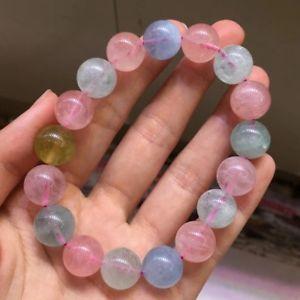 【送料無料】ブレスレット アクセサリ― カラフルビードブレスレットgenuine natural colorful morganite gemstone beads nice bracelet 125mm aaa