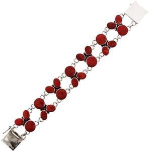【送料無料】ブレスレット アクセサリ― スターリングシルバーブレスレット listingexquisite red coral 925 sterling silver bracelet