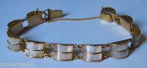 【送料無料】ブレスレット アクセサリ― チェーンヴィンテージa9old vintage jewel gold bracelet small chain brass carved inlaid mother of pearla9
