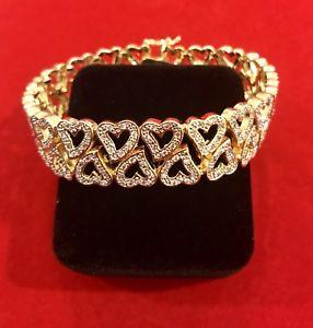 【送料無料】ブレスレット アクセサリ― kゴールドダブルハートレディースブレスレットwomen's 14k gold finish 75 double heart ladies bracelet