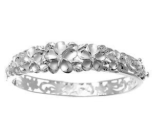 【送料無料】ブレスレット アクセサリ― スターリングシルバーハワイアンファンシープルメリアマイレメタルブレスレット925 sterling silver hawaiian fancy plumeria flower maile rigid bracelet
