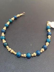【送料無料】ブレスレット アクセサリ― ビーズブレスレットイスラエルデラックスグリーンエイラトストーンdeluxe blue green eilat stone small beaded gold filled bracelet israel women art