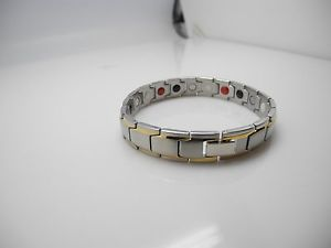 【送料無料】ブレスレット アクセサリ― jpエネルギーゴールドインレーチェーンリンクブレスレット128jp passion pure natural energy gold inlay and silver chain link bracelet 8 12