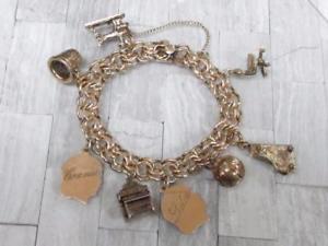 【送料無料】ブレスレット アクセサリ― ヴィンテージ12ktチャームブレスレット8 ̄494グラム ̄15b980vintage 12kt gold filled charm bracelet with 8 charms ~ 494grams ~ 15b980