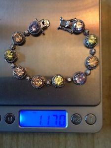 【送料無料】ブレスレット アクセサリ― sterling925light colored cubic zirconia ladies bracletsterling silver 925 light colored cubic zirconia ladies braclet