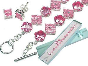 【送料無料】ブレスレット アクセサリ― ローズglace zircone cubiqueブレスレットetイアリングセットargent sterling rose glace zircone cubique bracelet et earrings set