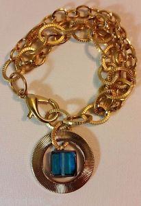 【送料無料】ブレスレット アクセサリ― tracyhaloedサファイアガラスb1785ペーストpaste by tracy kahn gold tone bracelet, haloed sapphirecolored glass bead b1785