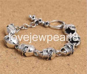 【送料無料】ブレスレット アクセサリ― スターリングシルバーパーソナリティレトロブレスレットpure s925 sterling silver personality retro skull mans bracelet