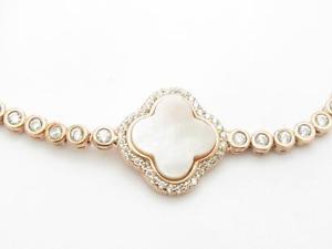 【送料無料】ブレスレット アクセサリ― kローズゴールドスターリングシルバーパールクローバーブレスレットホワイトサファイア18k rose gold sterling silver white sapphire mother of pearl clover bracelet