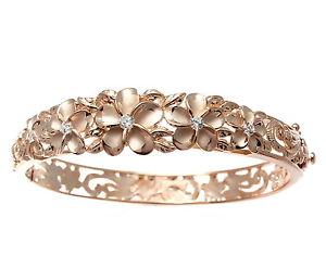 【送料無料】ブレスレット アクセサリ― ピンクゴールドシルバーファンシープルメリアハワイマイレブレスレットシートローズpink rose gold silver 925 fancy plumeria flower hawaii maile bracelet rigid sheet
