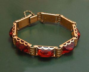 【送料無料】ブレスレット アクセサリ―  ̄1950*ダブルvery nice old amber bracelet ~ 1950 * doubl gold