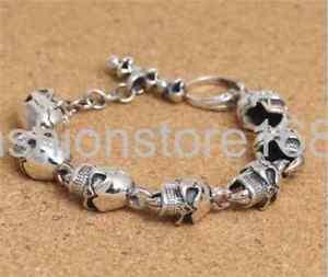【送料無料】ブレスレット アクセサリ― s925スターリングリバイバルマンブレスレットpure s925 sterling silver personality retro skull mans bracelet