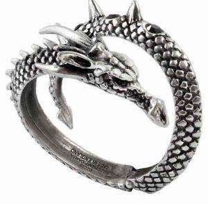 【送料無料】ブレスレット アクセサリ― ドラゴンブークレエネルギーテテラップノアールcristauxブレスレットゴシックdragon boucle vis viva tte tail wrap noir cristaux bracelet alchemy gothic